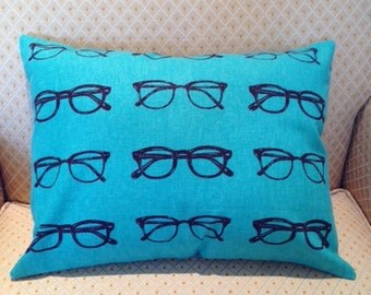 Green and Black Glasses Pillow Cover