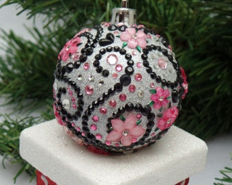 Pink Floral Scroll Christmas Ornament
