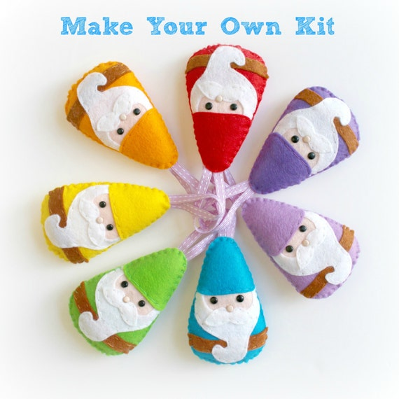 Make Your Own Rainbow Gnome Garland kit. Gnome decorations. Fairytale decor. Sewing pattern