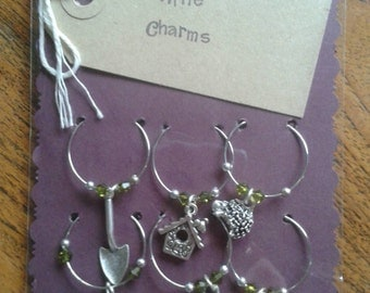 Garden Wine Charms Set of 6