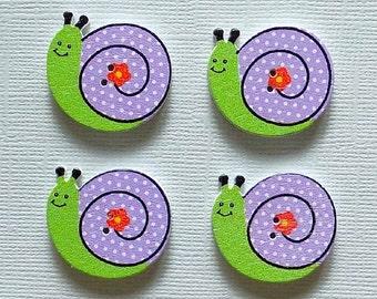 4 Wooden Snail Buttons -  #SB - 00104