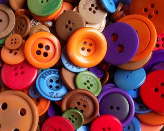 50 Colorful Fall Buttons - Mixed Button Sizes - Sewing Buttons