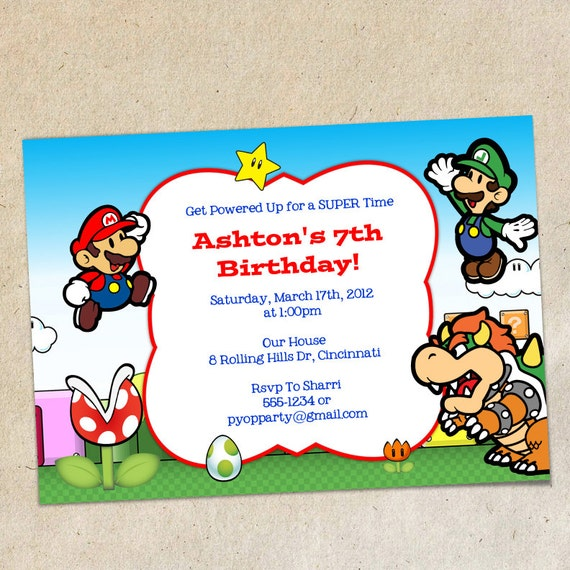 Super Mario Brothers Invitation Template Instant Download