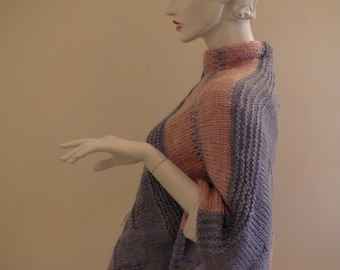 Handmade  Poncho .Handknit  blue and pink top .Soft Unique Shrug .