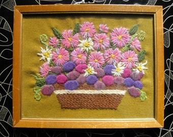Vintage Crewel Embroidery Flower Basket