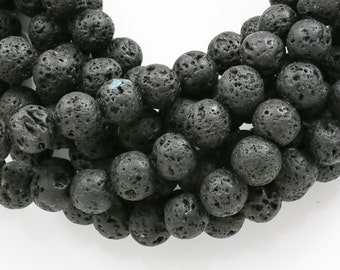 Natural Lava Round Beads full strand 15.5 inches- Single Strand or Wholesale Bulk