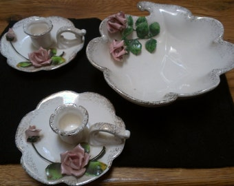 3 Dimensional Console Bowl with a pair of Candlesticks (311)