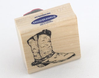 Western Boot Rubber Stamp, Card Making, Scrapbooking, Paper Crafts