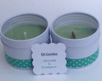 Outdoor citronella candles - handmade citronella scented candles in lovely white tins with clear lids.