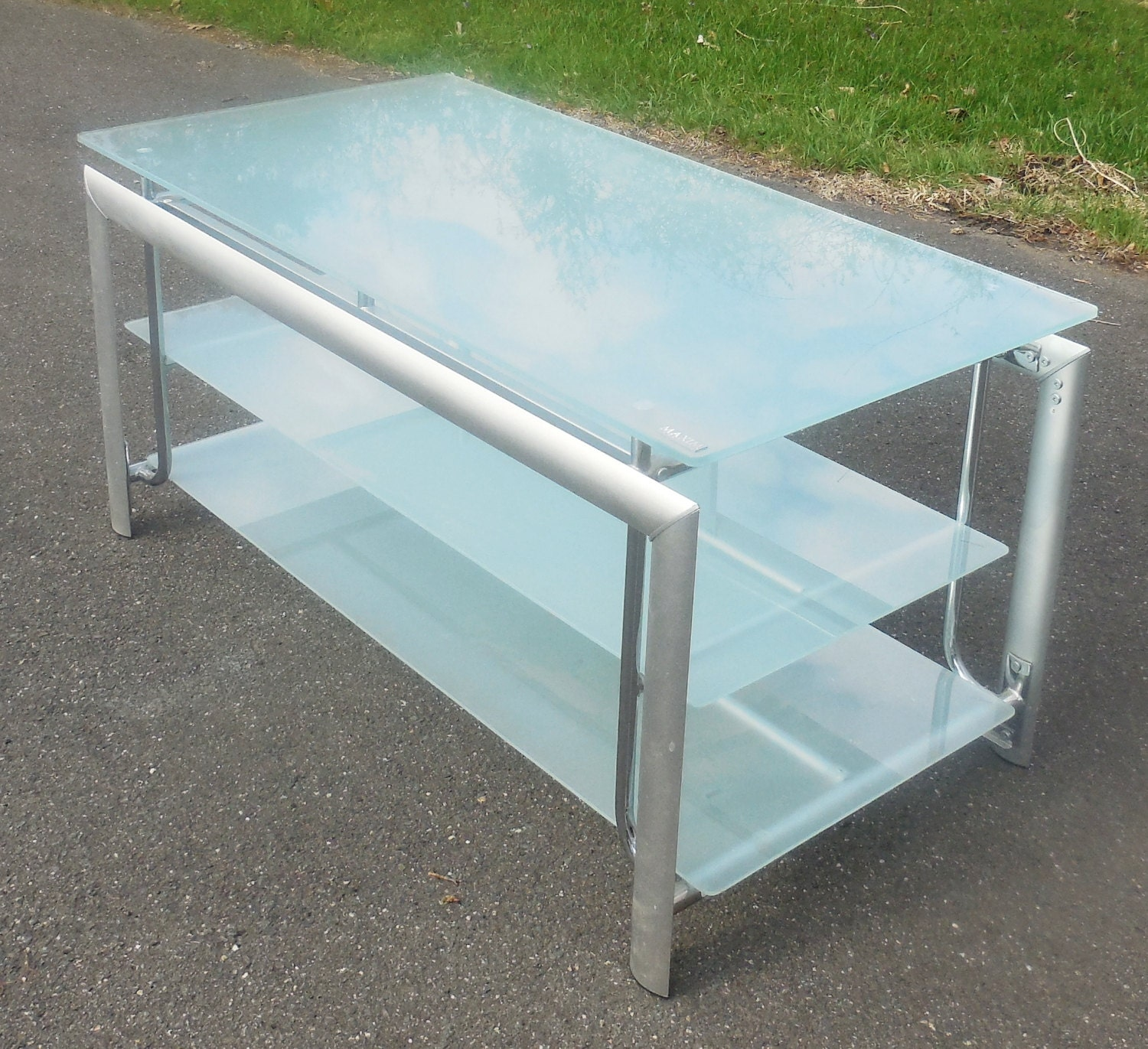 3 level modern glass tv stand coffee table by for 3 level coffee table