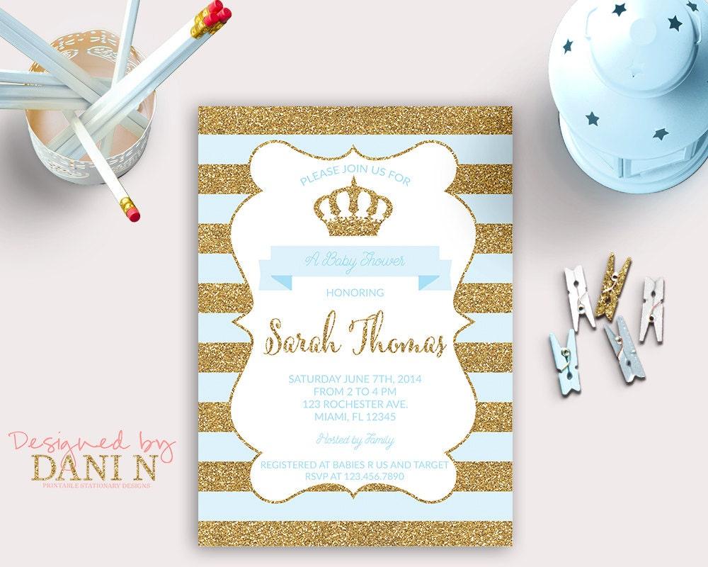 baby shower invitation prince baby shower blue by designedbydanin, Baby shower