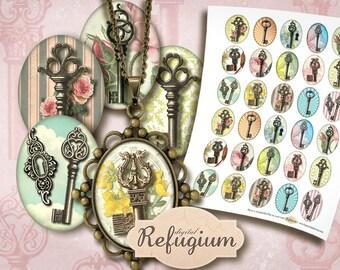 30 oval Images 3x4 cm, Digital Collage Sheet,vintage keys, jewelry images, printable