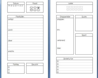 Personal Health and sports journal for the filofax