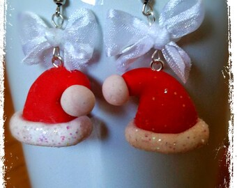 Polymer Clay Santa Claus hat Earrings