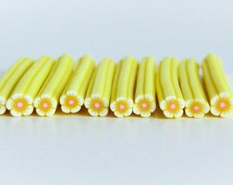 Yellow Flower Clay Cane, *Free Shipping, Bin # 14B