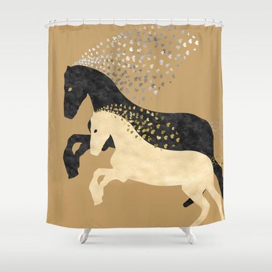 horse shower curtain bathroom decor black and white by narais