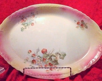 A Beautiful Old China Serving Platter With Strawberries!!!!!