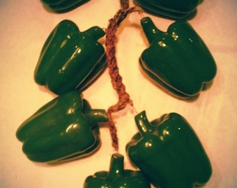 Vintage Hanging Green Peppers!!!!