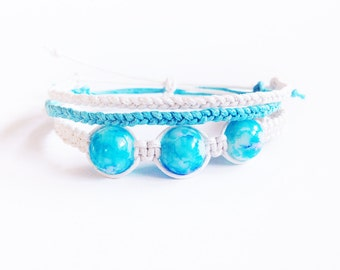Beaded Macrame Bracelet Set, Bracelet Stack, Best Friend Gift, Summer Accessories, Beaded Bracelet, Stacking Bracelet, Arm Candy
