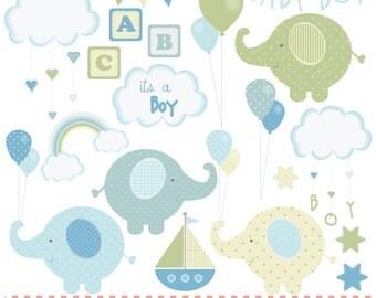 Baby boy,new baby, elephants green and blues, digital clip art set