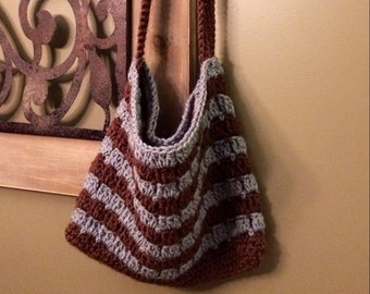 Crocheted Crossbody Bag in Brown and Slate Blue- Ready to Ship!