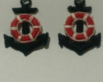 2 Blue and Red Boat Ship Anchor Applique Sew On Patch 2 Inches Tall