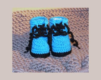 Newborn Baby Crocheted Blue & Black Combat Boots 9cm Sole