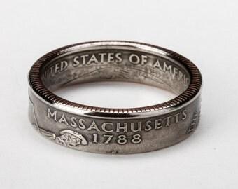 Massachusetts State Quarter Coin Ring