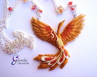 Necklace Phoenix, handmade, polymer clay