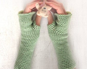 Arm Warmers Fingerless Gloves with beads embroidery Mittens Armwarmers Warm Hippie Boho Romantic apple color
