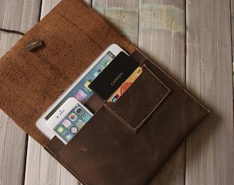 Leather iPad Case - iPad Air Sleeves - Distressed leather ipad sleeve covers - Multifunction iphone case, passport sleeves, pen sleeves