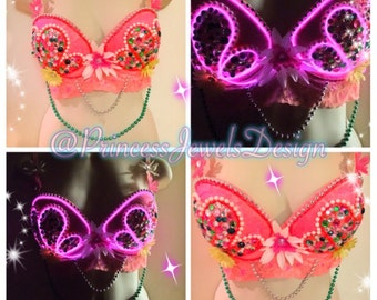 Coral (ELectric Shell Collection) EL Wire Glitter Light-Up Rave Bralette / Bustier