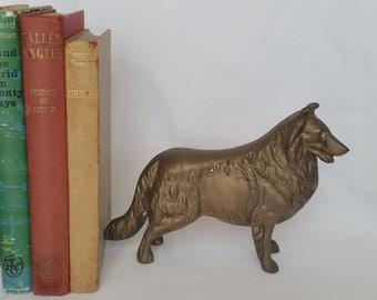 Vintage Solid brass border collie dog sheepdog statue sculpture solid and heavy 1.339 kg.