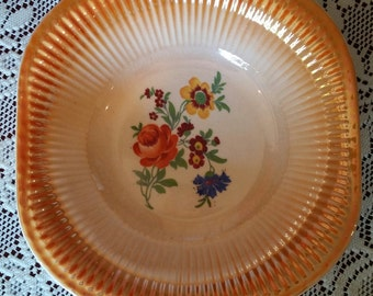 Vintage Lusterware Orange and Floral Serving Bowl