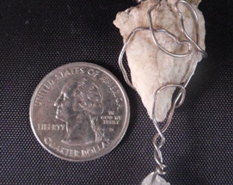 2pc. Natural Feldspar and Clear Quartz Pendant Wrapped with Silver Colored Wire   #41