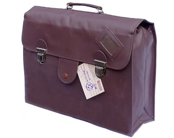 1980's Ex-Army Officers Spacious Briefcase Document Attache Large Bag In Brown New NOS
