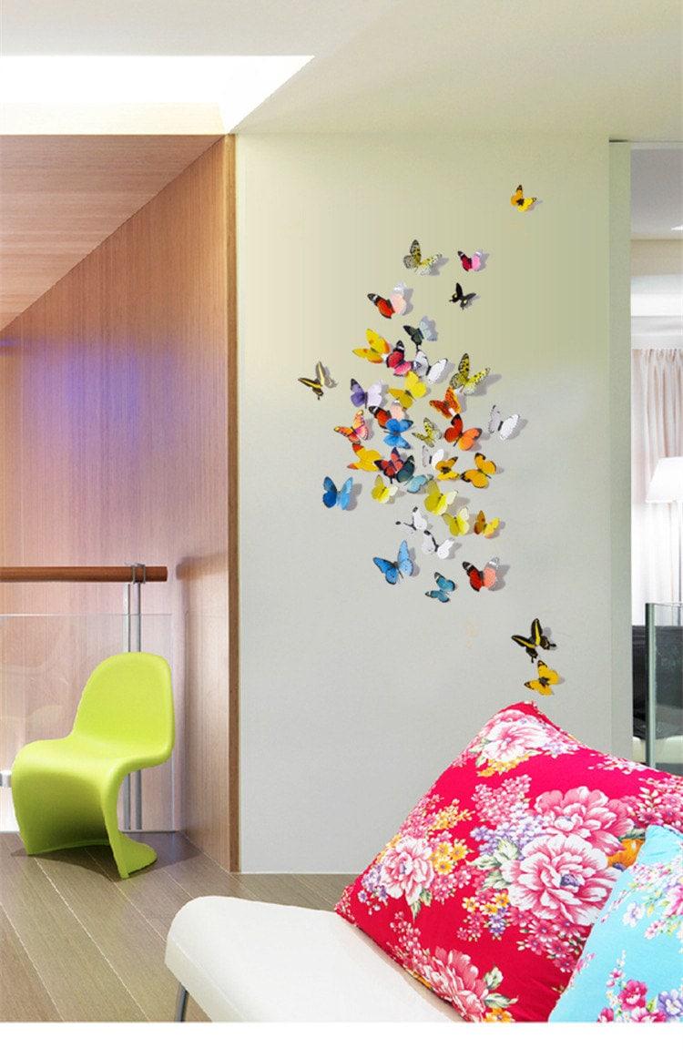 D co murale papillons simulation 3d st r oscopique par for Decoration murale papillon 3d noir