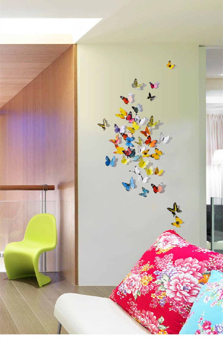 D co murale papillons simulation 3d st r oscopique mur for Simulation 3d chambre