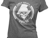 "Womens He-Man shirt ""Grey Skull Power Company"" ladies tee slim fit"
