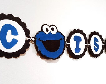 Sesame Street - Cookie Monster - Cookie Monster Party - Sesame Birthday - Cookie Monster Theme - Sesame Street Banner - Cookie Banner