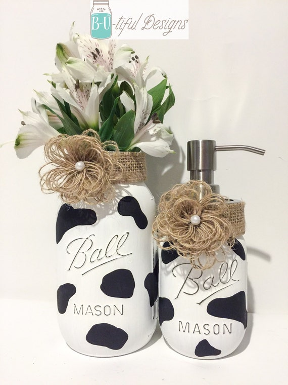 Cow kitchen decor hand painted mason jar vase and soap - Kitchen cow theme ...