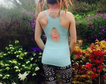 Work Out Bamboo Yoga Vest Active Wear Stretch Top Turquoise Cut Out Racerback