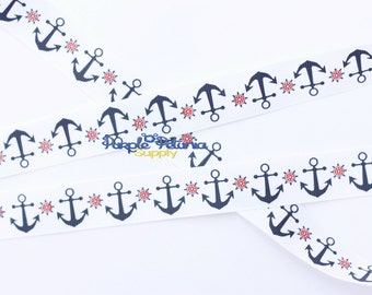 Anchor ribbon, red ribbon, 4th of July ribbon, patriotic ribbon, red white blue ribbon, red anchor ribbon, navy ribbon, sailor ribbon