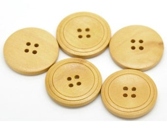 """10 Natural Wood 4 Holes Round Wood Sewing Buttons 1 1/8"""" Button Crafts, Scrapbooking B41515 B"""