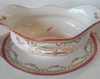 Antique L.S. & S. Austria Carlsbad Rose Garland Gravy Boat with Attached Under Plate and Handles