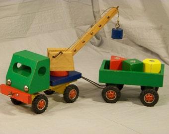 Vintage Woodblock Toy Truck Set.