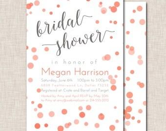 Bridal Shower Invitation, Coral Bubbles Bridal Shower Invitation, coral and grey invitation, coral polka dot invite (062a)