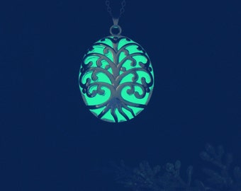 The Tree of Life Pendant - Green Glow Pendant - Green Glow Necklace - Glow in the Dark Necklace