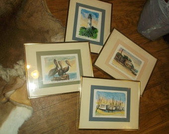 4- R.E. Kennedy Artist -Key West Signed and Framed Prints..1982