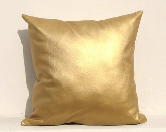 Gold pillow cover, Gold Cushion Cover, Holiday Decorative Pillow Case, Gold leather 01